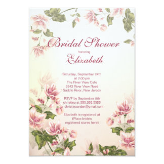 O rosa floral bonito de Vintag floresce chá de Convites Personalizados