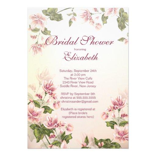 O rosa floral bonito de Vintag floresce chá de pan Convites Personalizados