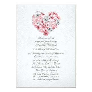 o rosa floresce a festa de noivado do vintage do convite 12.7 x 17.78cm