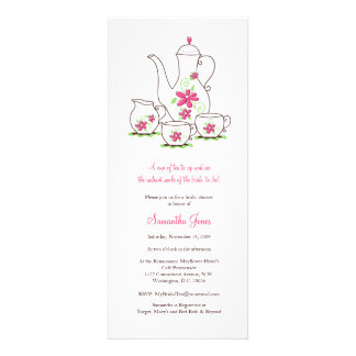 O rosa floresce chás de panela do grupo de chá convite personalizado