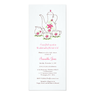 "O rosa floresce chás de panela do grupo de chá convite 10.16"" x 23.49cm"