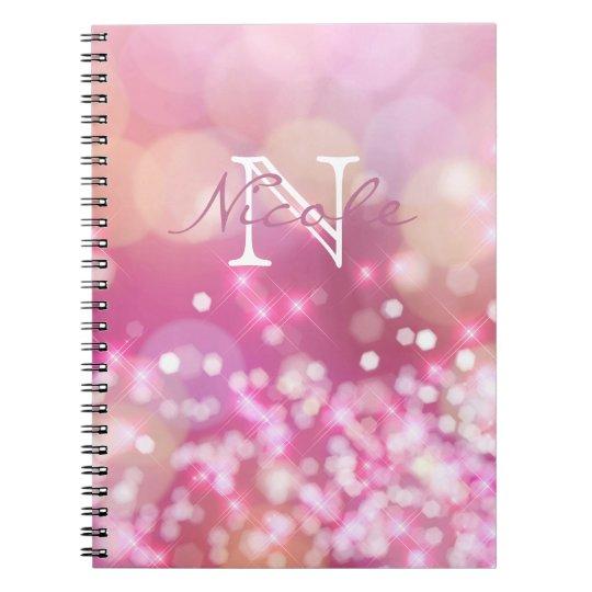 O rosa glamoroso Sparkles caderno da foto do