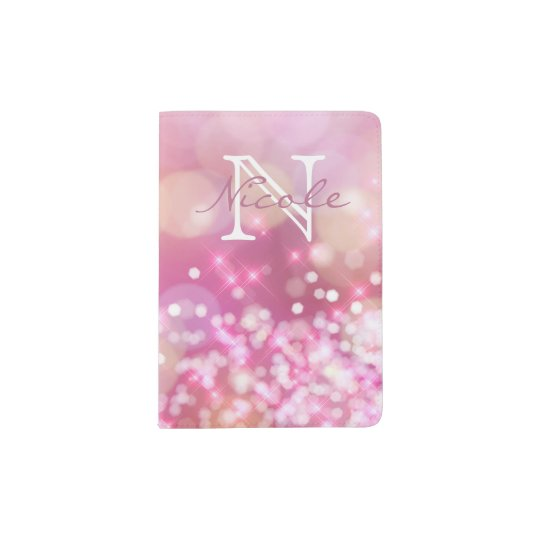 O rosa glamoroso Sparkles suporte do passaporte do Capa Para Passaporte