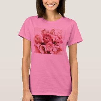 O rosa Pastel floresce o t-shirt da longo-luva