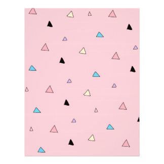O rosa Pastel remenda triângulos geométricos das Flyer 21.59 X 27.94cm