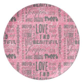 O rosa Sparkles tipografia Um--um-amável do AMOR Prato