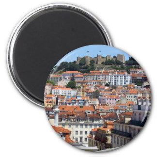 O Rossio e a Colina do Castelo, Lisboa, Portugal Ímã Redondo 5.08cm