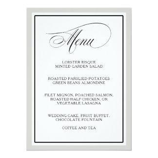 O roteiro elegante floresce o menu do casamento convite 13.97 x 19.05cm