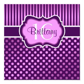 O roxo, aniversário das bolinhas do Lilac décimo Convite Quadrado 13.35 X 13.35cm