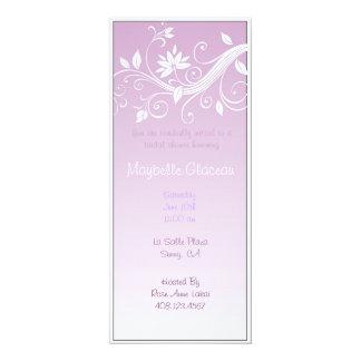O roxo desvanece-se chá de panela da flor convite 10.16 x 23.49cm