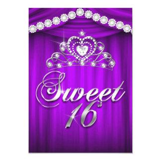 O roxo do partido da princesa Doce 16 drapeja a Convite 12.7 X 17.78cm