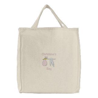 O saco bordado coisas do bebê (rosa) bolsa de lona