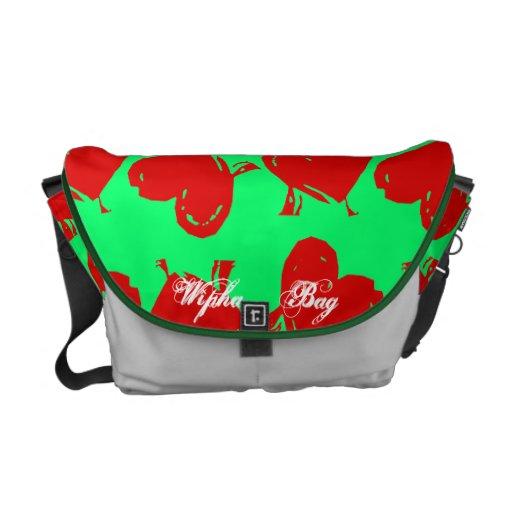 O saco verde vermelho do coração bolsas mensageiro
