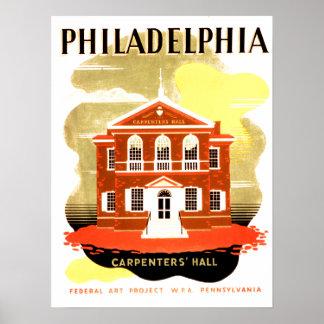 O Salão dos carpinteiros em Philadelphfia históric Poster