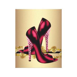 O salto alto preto e vermelho do leopardo calça o  impressão em tela