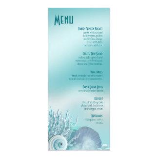 O Seashell sonha o aqua do menu do casamento de Convites Personalizados