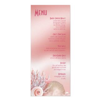O Seashell sonha o rosa do menu do casamento de Convites Personalizados