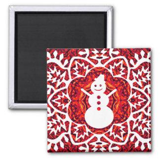 O Snowflake&Snowman de ano novo Ímã Quadrado