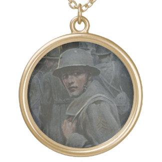 O soldado olha para trás colar banhado a ouro