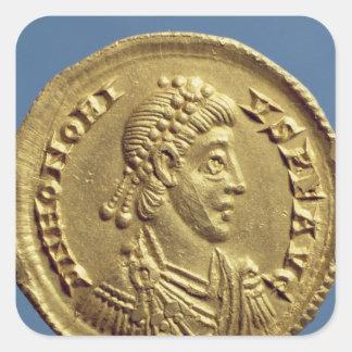 O Solidus de Honorius drapeja, cuirassed Adesivo Quadrado