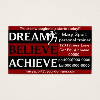 O sonho acredita consegue o instrutor pessoal cartão de visitas