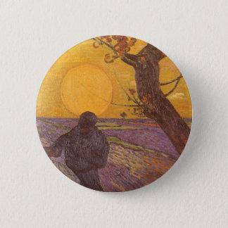 O Sower por Vincent van Gogh, belas artes do Bóton Redondo 5.08cm