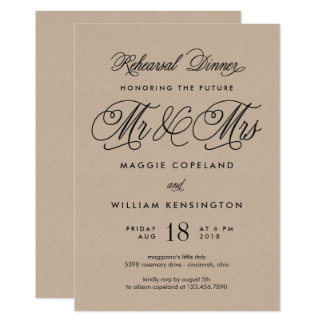 O Sr. e a Sra. futuros jantar de ensaio convidam Convite 12.7 X 17.78cm