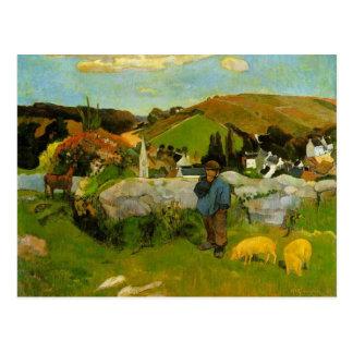O Swineherd, Brittany por Paul Gauguin Cartão Postal