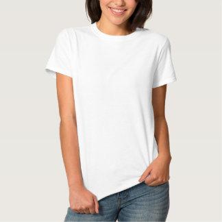 O t-shirt básico bordado das mulheres camiseta polo bordada feminina