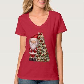 O t-shirt das mulheres do feriado do papai noel do