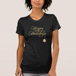 O t-shirt das mulheres do floco de neve do ouro