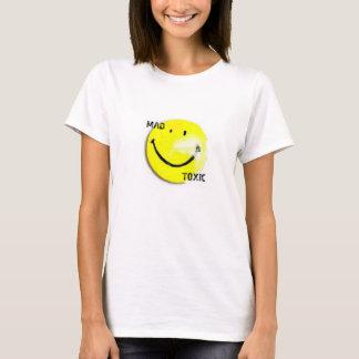 O t-shirt das mulheres tóxicas loucas do smiley
