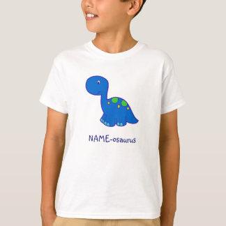 O t-shirt do miúdo do Nome-osaurus do dinossauro -