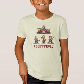 O t-shirt dos miúdos da banda de rock and roll do