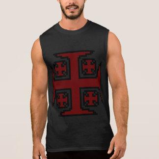 O t-shirt sem mangas dos homens vermelhos de
