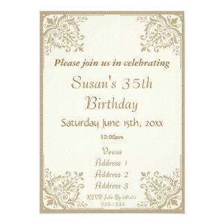 O Taupe floral encurrala o aniversário Convite Personalizados