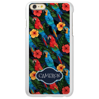 O teste padrão | do Macaw e do hibiscus adiciona Capa Incipio Feather® Shine Para iPhone 6 Plus