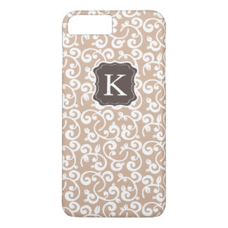 O teste padrão floral do monograma feminino, muda capa iPhone 8 plus/7 plus