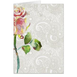 O teste padrão floral ornamentado com aguarela cor cartão comemorativo