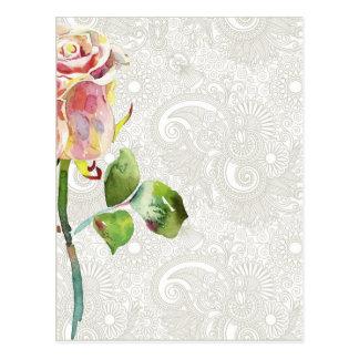 O teste padrão floral ornamentado com aguarela cor cartão postal