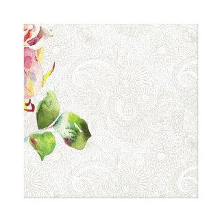 O teste padrão floral ornamentado com aguarela cor impressão em tela