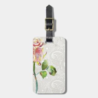 O teste padrão floral ornamentado com aguarela cor tag para bagagem