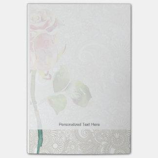 O teste padrão floral ornamentado com aguarela cor sticky note
