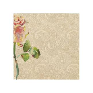 O teste padrão floral ornamentado com aguarela cor impressões em madeira