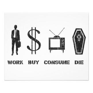 O trabalho, comprar, consome, morre - o Cirlce da  Flyer 11.43 X 14.22cm