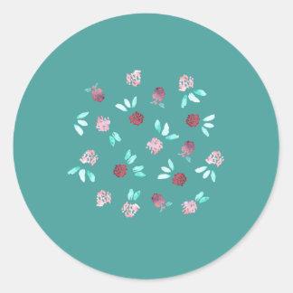 O trevo floresce a etiqueta redonda lustrosa