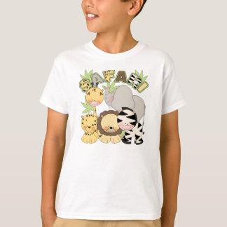 o tshirt bonito das crianças com os animais da
