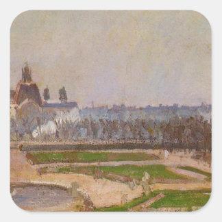 O Tuileries e o Louvre por Camille Pissarro Adesivo Quadrado