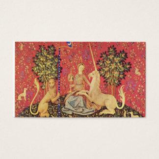 O unicórnio e a imagem medieval nova da tapeçaria cartão de visitas