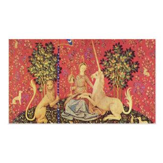 O unicórnio e a imagem medieval nova da tapeçaria modelo cartões de visitas